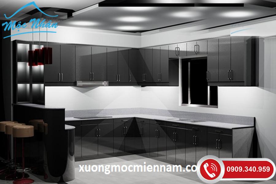 tủ bếp màu đen