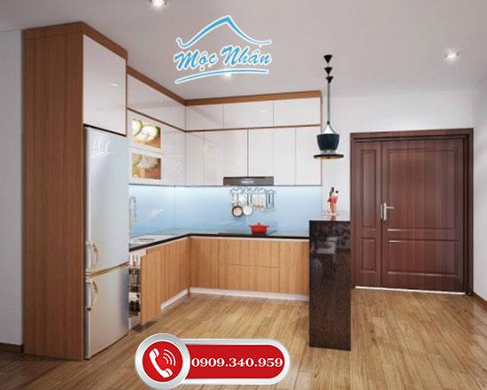Tủ bếp Acrylic vân gỗ tại Mộc Nhân