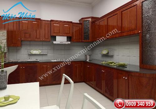 Tủ bếp gỗ căm xe TBCX 059